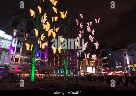 London, UK. 18th Jan, 2018. Locations around central London feature spectacular light displays created by 40 world - Stock Photo