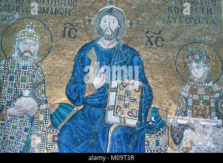Byzantine Mosaic of Jesus Christ Holding a Bible flanked by Byzantine Emperor Constantine IX Monomachos (c1000-1055), - Stock Photo