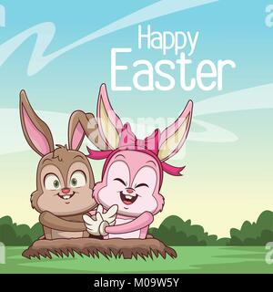 Happy easter card cartoon - Stock Photo