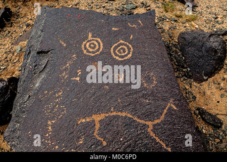 The Rock Painting, in the Yinshan Mountains in Urad Middle Banner, Inner Mongolia, China. - Stock Photo