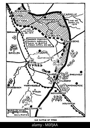 WWI - A 1917 map showing military activity in the 1914-1918 First World War. The area of the gas Battle of Ypres - Stock Photo