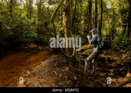 A nature photographer pauses to photograph something in the Amazon rainforest. - Stock Photo