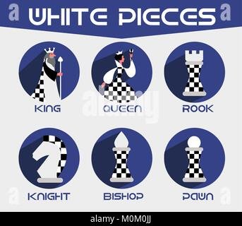 white chess pieces: king, queen,bishop, knight, rook. Set of vector chess icons in a flat style - Stock Photo