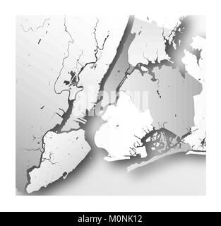 High resolution map of New York City with NYC boroughs. - Stock Photo