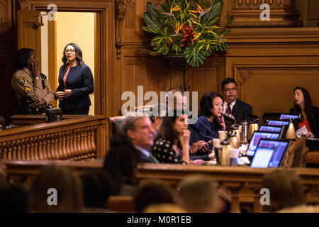 San Francisco, California, USA. 23rd Jan, 2018. Board of Supervisors President London Breed, who became acting mayor - Stock Photo