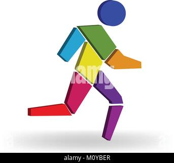 Running man colorful 3D figure logo vector - Stock Photo
