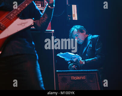 Liverpool, Merseyside, UK. 17th June, 2017. MARK E SMITH lead Singer of UK Indie band, The Fall performing at Liverpool - Stock Photo