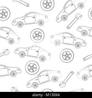 Car service. Seamless texture on a white background. - Stock Photo