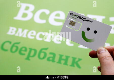 St Petersburg, Russia. 26th Jan, 2018. ST PETERSBURG, RUSSIA - JANUARY 26, 2018: A person holds a SIM card of mobile - Stock Photo