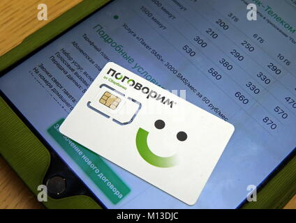 St Petersburg, Russia. 26th Jan, 2018. ST PETERSBURG, RUSSIA - JANUARY 26, 2018: A SIM card of mobile virtual network - Stock Photo