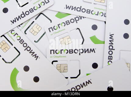 St Petersburg, Russia. 26th Jan, 2018. ST PETERSBURG, RUSSIA - JANUARY 26, 2018: SIM cards of mobile virtual network - Stock Photo