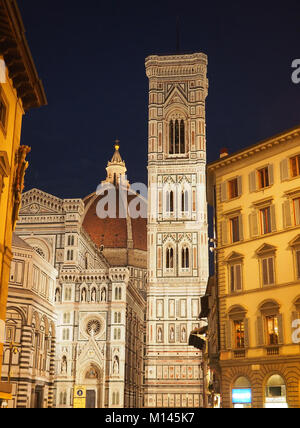 Europe,Italy,Tuscany,Florence,Giotto bell tower in renaissance Basilica of Santa Maria del Fiore in Duomo Square - Stock Photo
