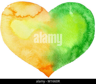 watercolor heart with light and shade, painted by hand - Stock Photo