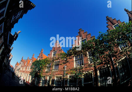 The Netherlands. Haarlem. Gasthuishuisjes, a series of houses with identical step gables, built around 1610. - Stock Photo