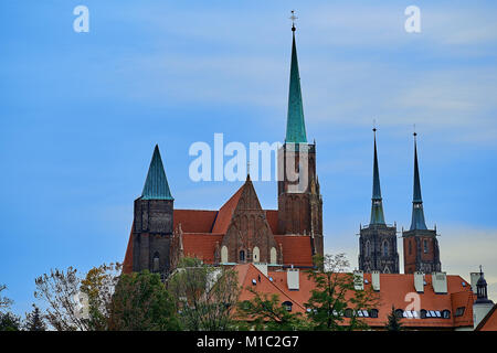 Wroclaw Old Town. Cathedral Island (Ostrow Tumski) is the oldest part of the city at sunset. Cathedral of St. John - Stock Photo