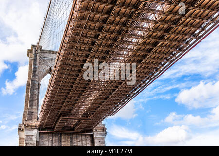 Closeup isolated view of under Brooklyn Bridge outside exterior outdoors in NYC New York City, blue sky - Stock Photo