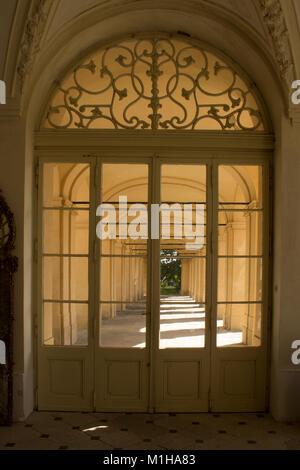 View through the entrance door to the arcade corridor - Stock Photo