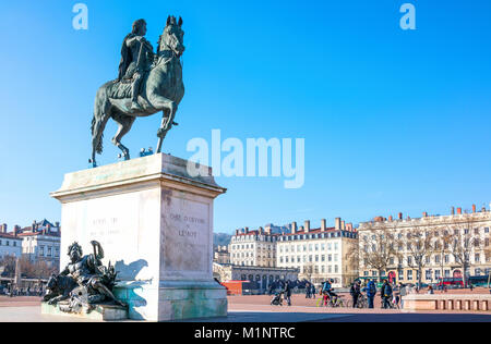 Lyon,  France,  The equestrian monument of King Louis XIV in Bellecour square - Stock Photo