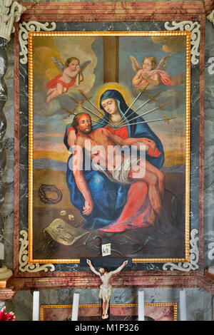 Painting showing biblical scene of the crucification,Koglmoos Chapel Altar,Gallzein,Tyrol,Austria - Stock Photo