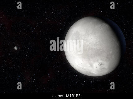 This image is a concept of the Orcus dwarf planet and your moon Dysnomia in a precise and scientific artwork design.This - Stock Photo