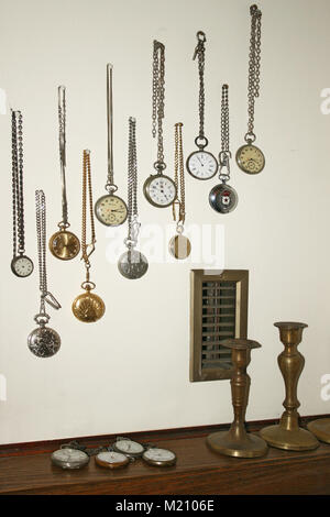 Collection of vintage pocket watches - Stock Photo