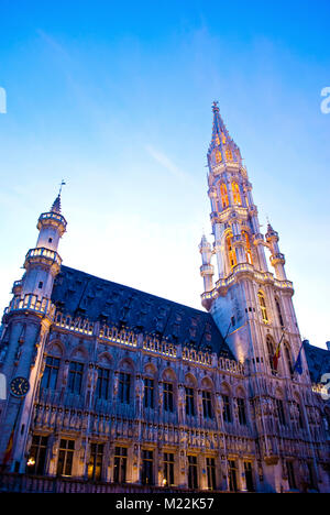 Hotel de Ville at Great Market Square in Brussels, Belgium. - Stock Photo