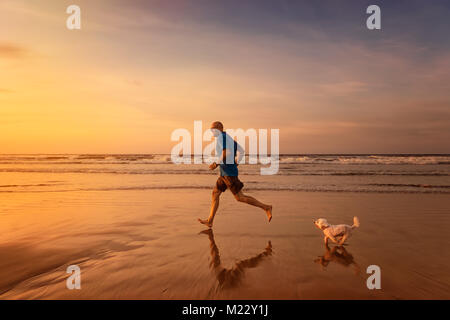 Owner and maltese dog are running at the beach in sunset time - Stock Photo