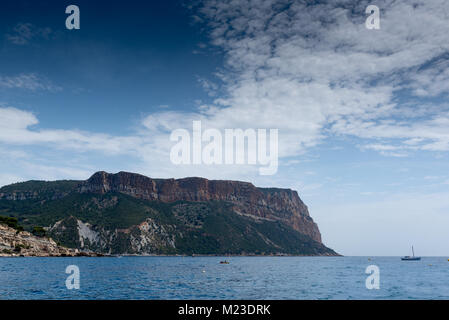 View on Cape Canaille from the sea, France, Cassis, summer - Stock Photo