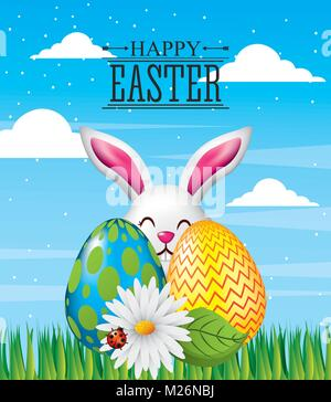 happy easter card greeting invitation decoration - Stock Photo