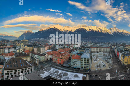 INNSBRUCK, AUSTRIA - JANUARY 27: (EDITORS NOTE: This panorama image has been digitally composited.) The downtown - Stock Photo