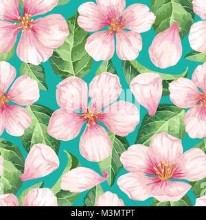 Apple flowers, petals and leaves in watercolor style on white background. Seamless pattern for textile, wrapping - Stock Photo
