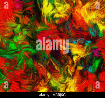 Vivid Colorful Abstract Painting. 3D rendering - Stock Photo