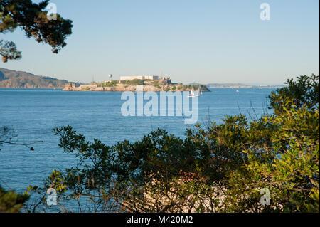 San Francisco, CA - February 03: View of Alcatraz Island from Fort Mason - Stock Photo