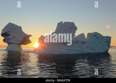 Icebergs from the icefjord at sunset, Ilulissat, Vestgronland, Greenland - Stock Photo