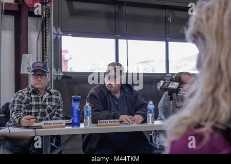 Contentious meeting on 02-13-2018 in small rural town of Julian in San Diego county, Julian Volunteer Fire Department - Stock Photo