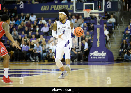Seattle, WA, USA. 15th Feb, 2018. UW point guard David Crisp (1) in action during a PAC12 basketball game between - Stock Photo