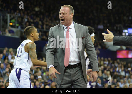 Seattle, WA, USA. 15th Feb, 2018. Utah Head Coach Larry Krystkowiak tries to get the referee's attention during - Stock Photo