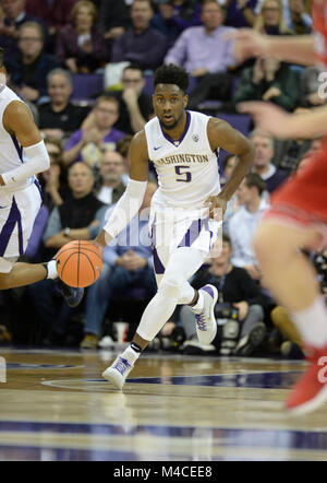 Seattle, WA, USA. 15th Feb, 2018. UW guard Jaylen Nowell (5) in action during a PAC12 basketball game between the - Stock Photo