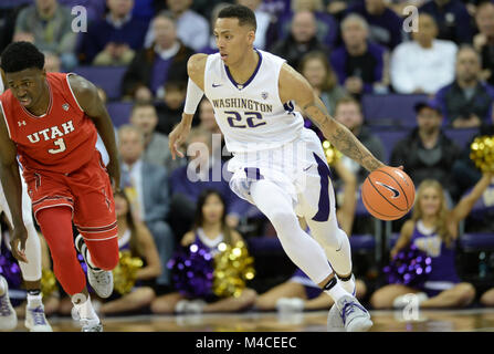 Seattle, WA, USA. 15th Feb, 2018. UW guard Dominic Green (22) in action during a PAC12 basketball game between the - Stock Photo