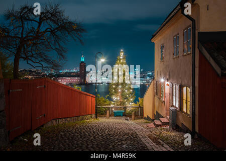 Panoramic view of famous Stockholm city center with historic town hall and decorated Christmas tree in the old town - Stock Photo