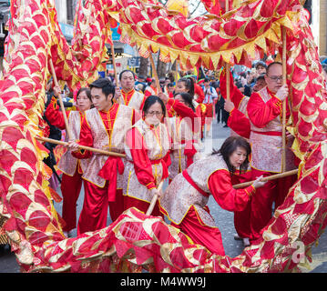 London, UK. 18th Feb, 2018. City Celebrates Arrival of Chinese New Year. The Capital Hosts the Biggest New Year - Stock Photo