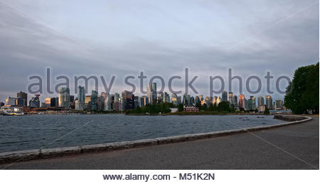 Vancouver skyline just after dawn. - Stock Photo