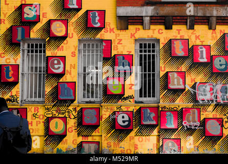 A wall in East London covered in street art, England - Stock Photo