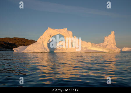 Icebergs from the icefjord, Ilulissat, Disko Bay, Greenland, Polar Region with midnight light - Stock Photo