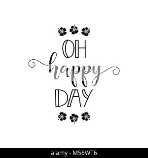 Oh happy day. lettering. Design for banner poster, card, invitation flyer brochure t-shirt Vector - Stock Photo