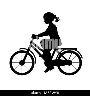 Silhouette girl riding bike sport. Vector illustration - Stock Photo
