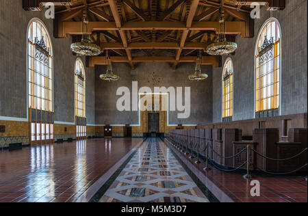 The Original Ticket Lobby, in Union Station, in Los Angeles, CA, USA. - Stock Photo