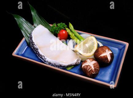 Japanese style Steak sable fish set teppanyaki raw - Stock Photo