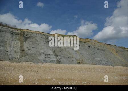 Soft Grey Fossil Rich Mudstone Cliffs Along Charmouth Beach, West Dorset, UK. Jurassic Coast World Heritage Site, - Stock Photo
