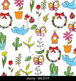 spring background with flowers butterflies ladybugs birds and leafs - Stock Photo